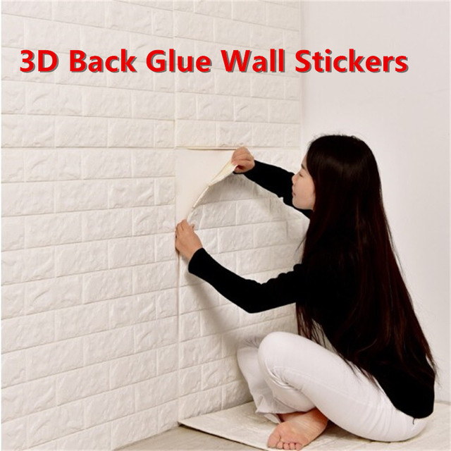 waterproof pe foam 3d wall stickers brick pattern back glue self