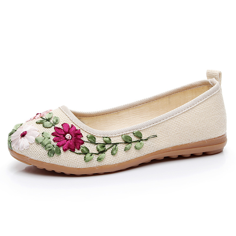 Vintage Embroidered Women Flats Flower Slip On Cotton Fabric Linen Comfortable Old Peking Ballerina Flat Shoes Sapato Feminino vintage embroidery women flats chinese floral canvas embroidered shoes national old beijing cloth single dance soft flats