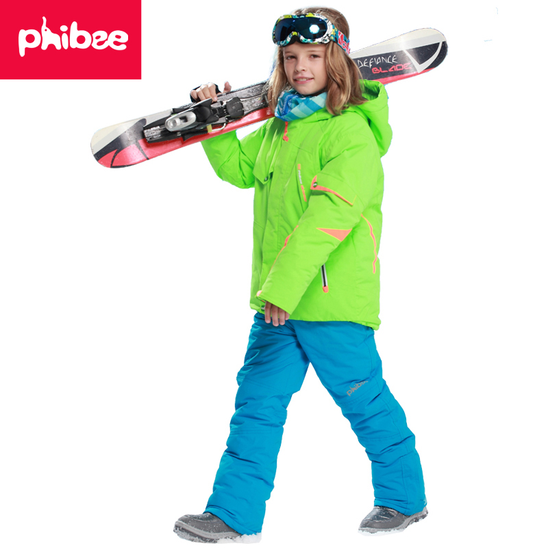 Phibee Outdoor Winter Waterproof Windproof Warm Ski Jacket Kids Snowboard Boys Ski Set Suit suitable -20-30 degree phibee girls ski jacket windproof waterproof kids ski jacket 8015 free shipping