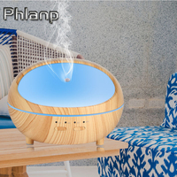 Phlanp 300ml Air Humidifier Household Essential Oil Diffuser Aroma Wood Grain Aromatherapy Electric Diffuser Mist 7