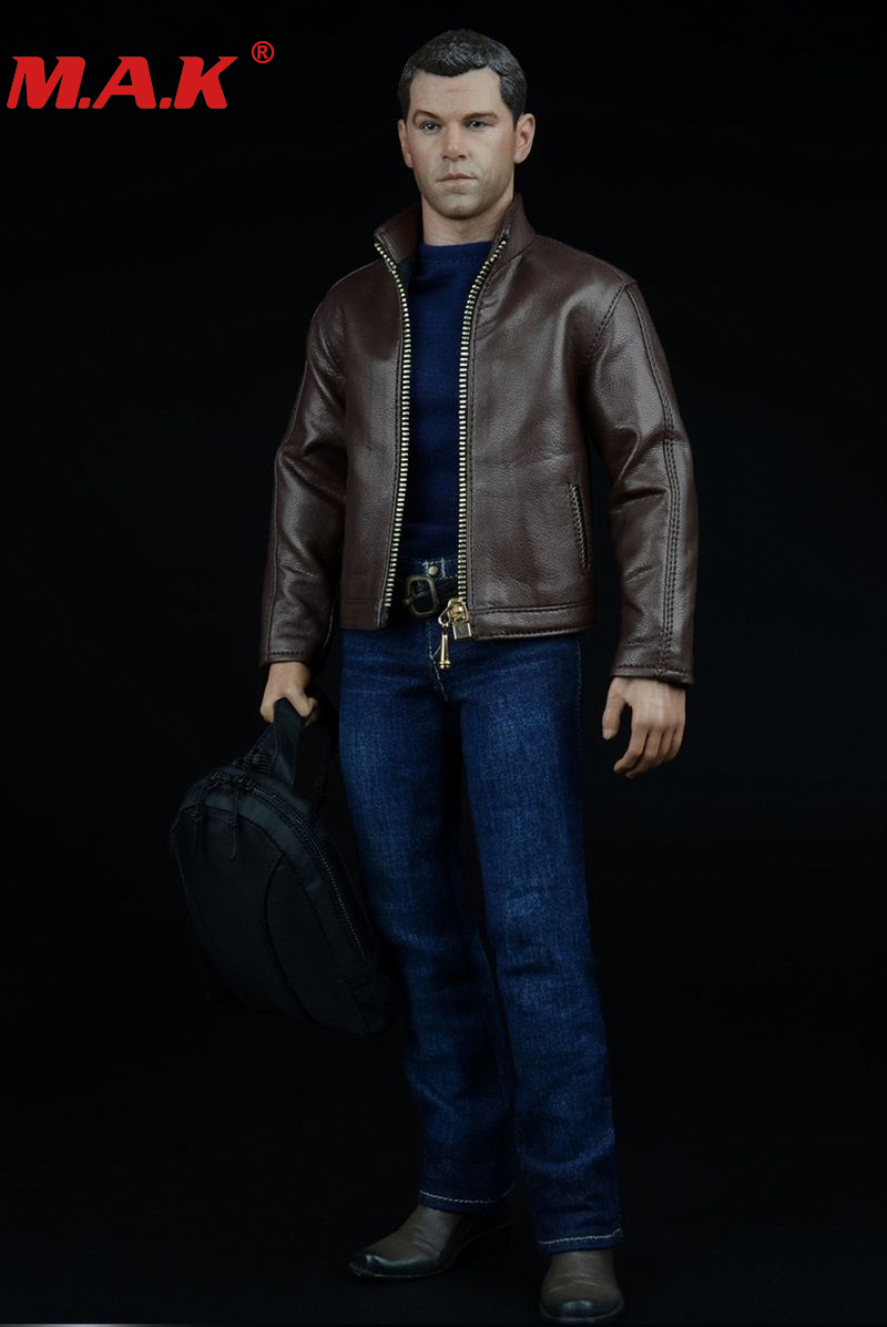 1/6 scale male man boy agent suit leather jacket shirt jeans clothing set and pistol accessories for 12'' inches action figures 1 6 fashion custom air force jacket set punk jacket set with canvas bucket bag f 12 inches g dragon male body action figures