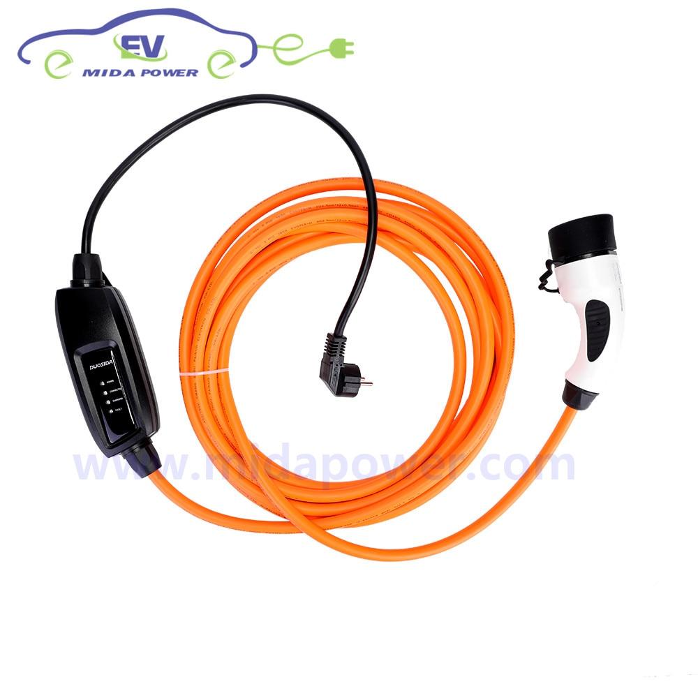 DUOSIDA IP65 16Amp 5 mètre Type2 Femelle EV Connecteur UE Schuko Plug Prise Orange EV Câble Niveau 2 Voiture EV de charge Chargeur SAVE