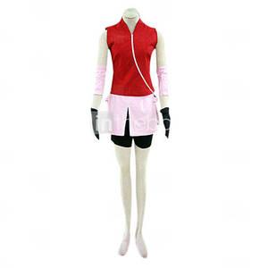 Image 4 - ことが仕立てアニメナルトコスプレ男女ハロウィンcos春野さくらコスプレ衣装トップ+スカート+パンツ+手袋