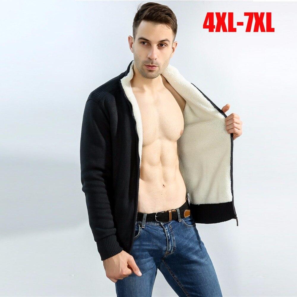 Erkek Kıyafeti'ten Hırkalar'de Artı boyutu 4XL 7XL erkek hırka kazak ceket kış kalınlaşmak kuzu içinde yün astar fermuar balıkçı yaka Rahat sıcak sweatercoat'da  Grup 1