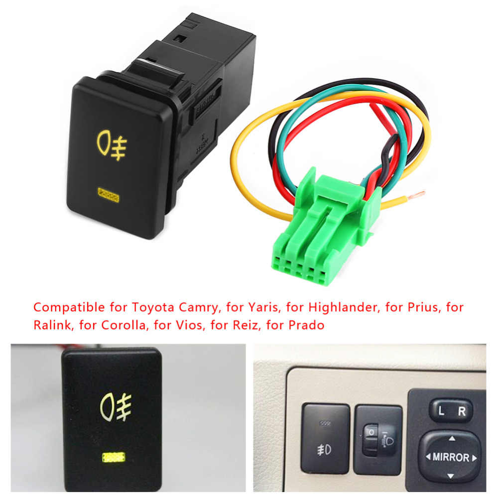 4 Wire Car Foglight Control Switch Fog Light Lamp On-Off Button For Toyota Toyota Camry/Yaris/Highlander/Prius/Corolla DC 12V