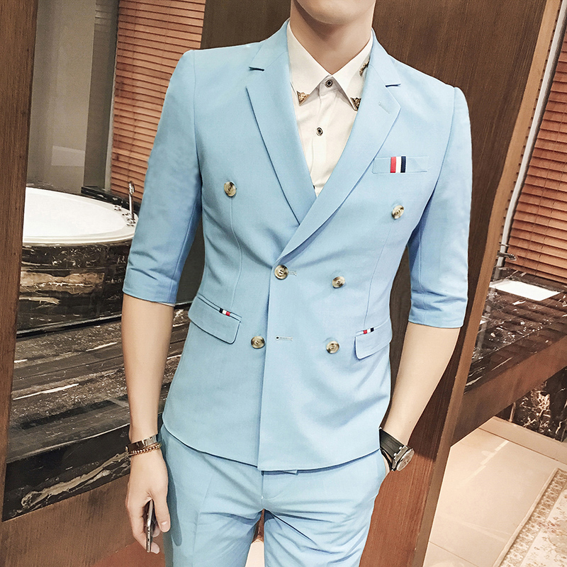Double breasted suit summer suits 2 pieces men summer blazers slim fit mens summer blazers costume