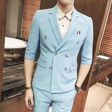 Double breasted suit summer suits 2 pieces men summer blazers slim fit mens summer blazers costume homme men blazer masculino