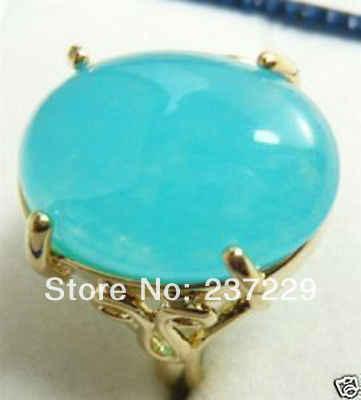 การจัดส่งสินค้าราคาขายส่ง^^^^สั้นๆรูปไข่สีฟ้าอ่อนหยกหินฝังG Old P Latedผู้หญิงค๊อกเทลแหวนเครื่องประดับ