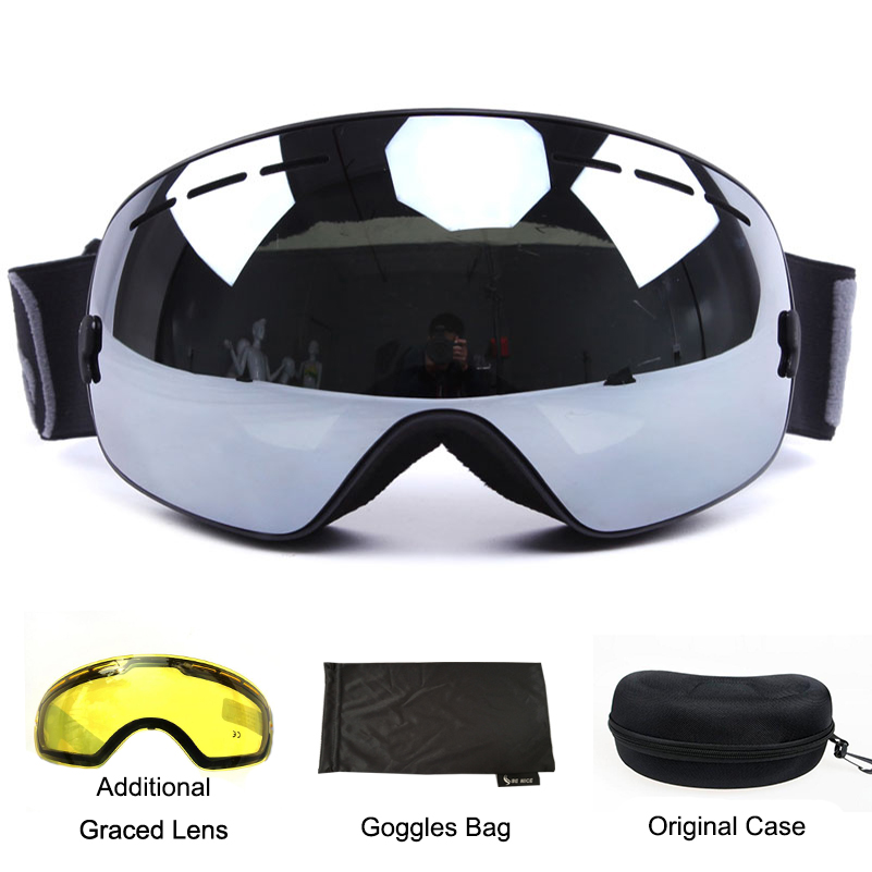 Benice brand ski goggles double lens UV400 anti-fog spherical ski glasses skiing men women snow goggles 3100+Lens+Box Set