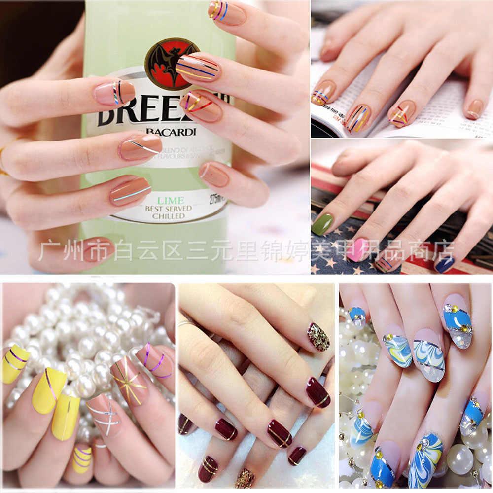 Kawaii 1mm 12 colores brillo uñas rayado línea cinta adhesiva Set decoración arte DIY consejos para esmalte uñas Gel diamantes de imitación sobresalen por