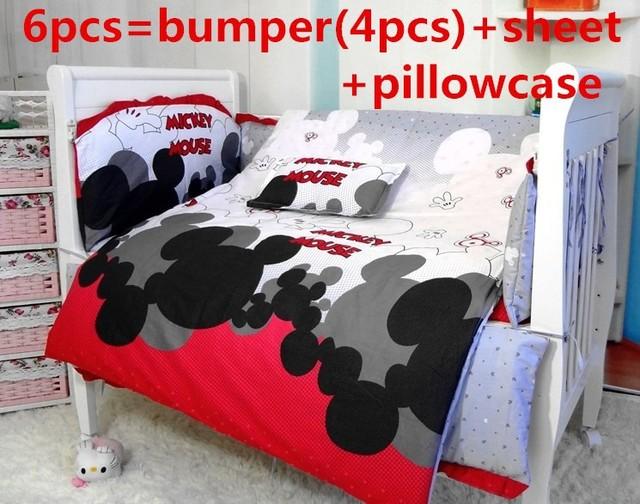 Promoción! 6 unids Mickey Mouse bebé ropa de cama conjunto cortina berco cuna bumpers lecho del bebé del pesebre conjuntos sólo ( bumpers + hojas + almohada cubre )