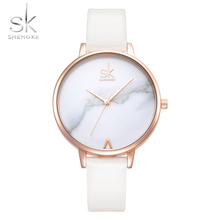 цена Shengke Top Brand Ladies Watches White Marble Dial Fashion Leather Female Quartz Watch Women Thin Casual Strap Watch Reloj Mujer онлайн в 2017 году