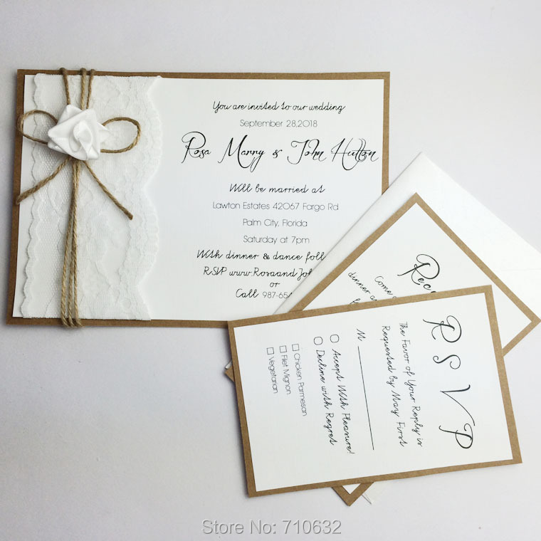 Handmade Creative Rustic Lace Wedding Invitations A Set With