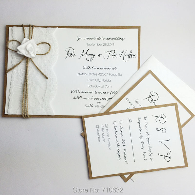Handmade Creative Rustic Lace Wedding Invitations A Set With Main Invitation ,RSVP Card,Reception