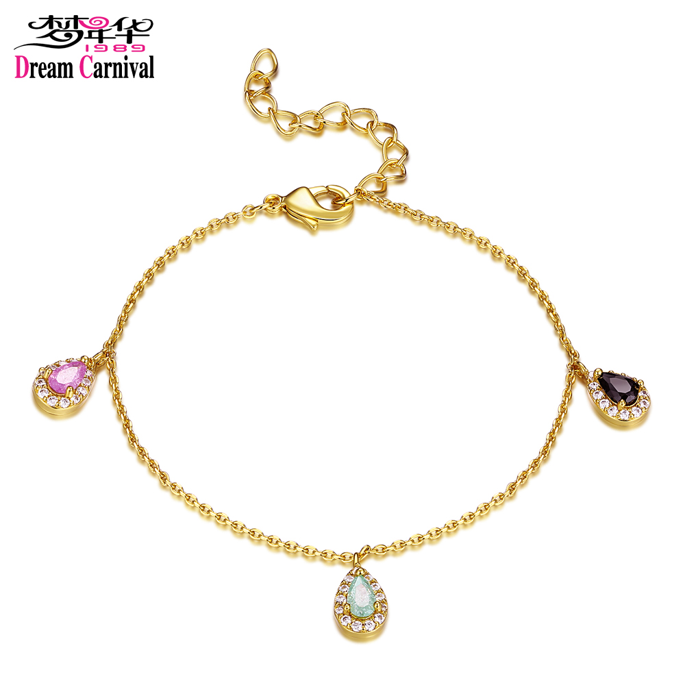 DreamCarnival 1989 3 Drop Charms Mixed Pastel Gold Color Rainbow CZ Daily Wear Bracelet for Women Femme Pulseira Gift SB09056-SG