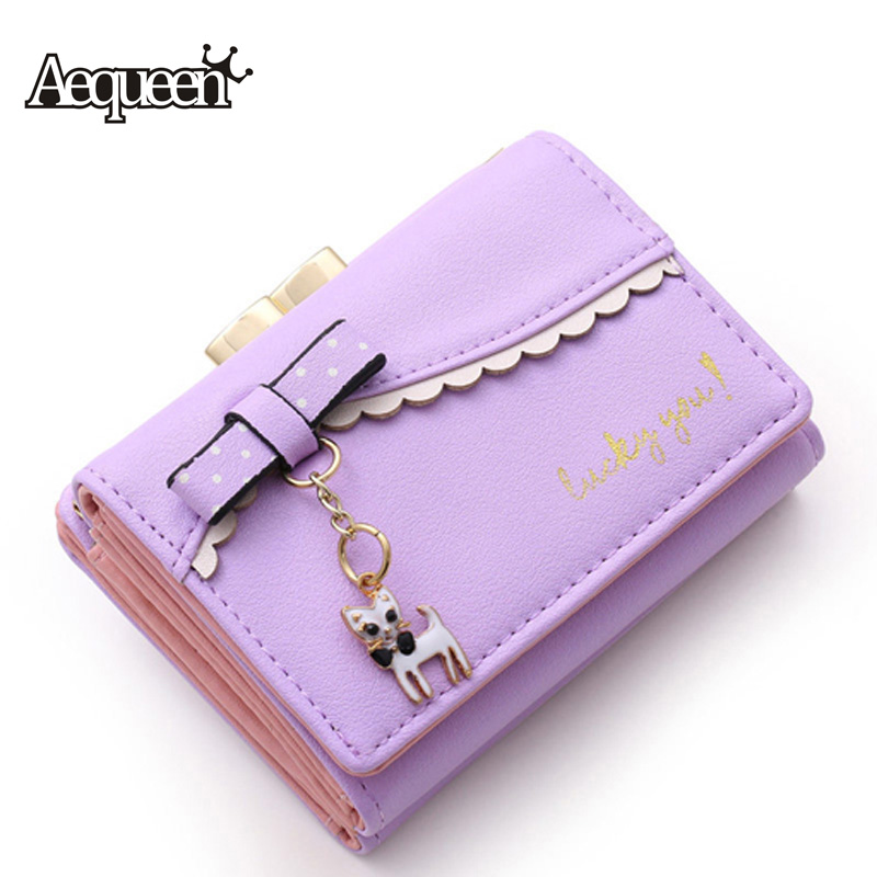 AEQUEEN Fashion Women Wallet Cute Cat Wallets PU Leather Purses Pendant Bowknot Short Pouch Lady Coin Purse Bow ID Card Holder