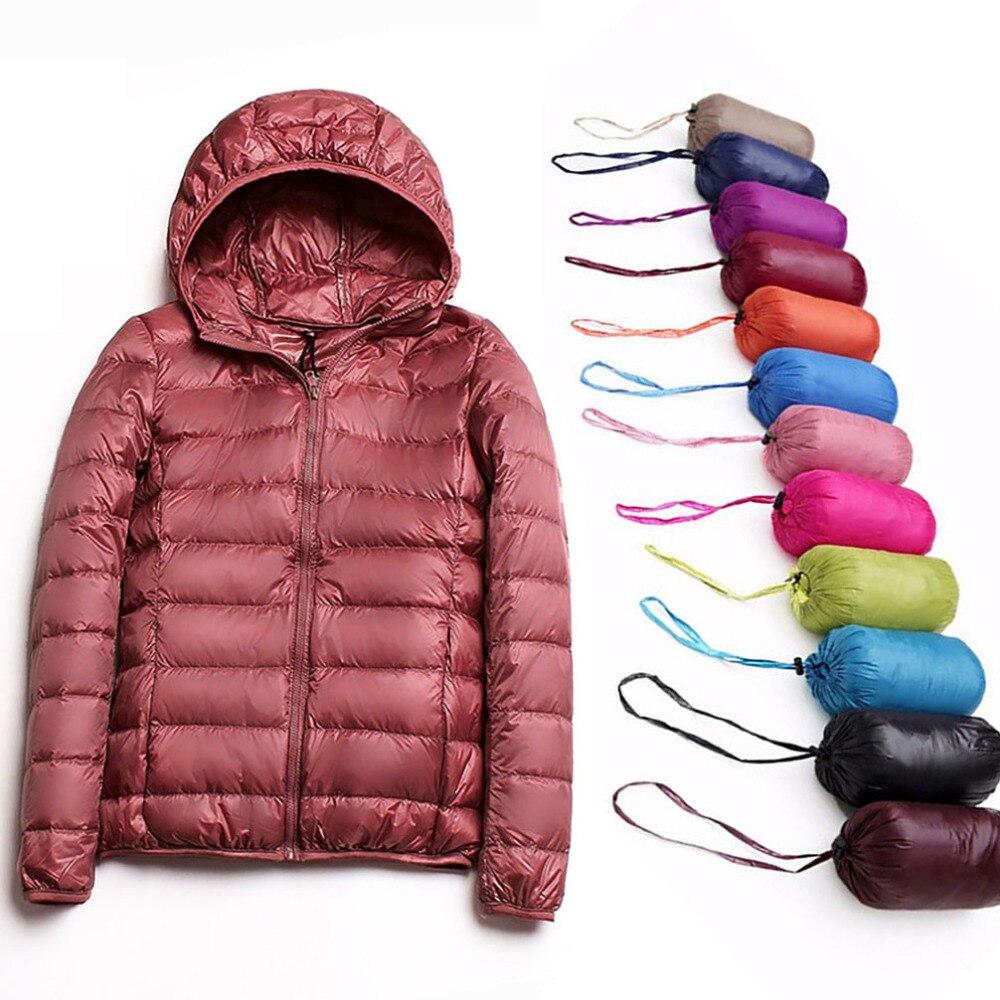 Winter Women Ultra Light   Down   Jacket 90% Duck   Down   Hooded Jackets Long Sleeve Slim Warm   Coat   Parka Female Spring Autumn Outwear