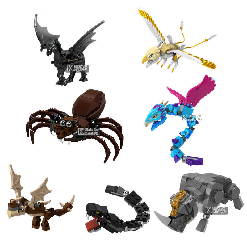 Animal jurassic Dinosaurs Panther Snow Leopard Crocodile Tiger Cow Horse Figures Building Blocks juguetes legoings Toys Gift