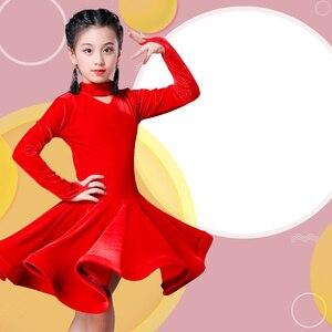 Image 3 - Dzieci dziewczyna wino aksamitne sukienki latynoskie gimnastyka Dancewear konkurs strój do tańca sukienka do tańca towarzyskiego dla dzieci dla dziewczynek