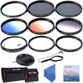 62mm delgado UV CPL ND4 + Delgado Azul Naranja Gris Graduado color + Macro Close Up + 4 + 10 + 6 Puntos Filtro Estrella de la Lente para la lente de la cámara