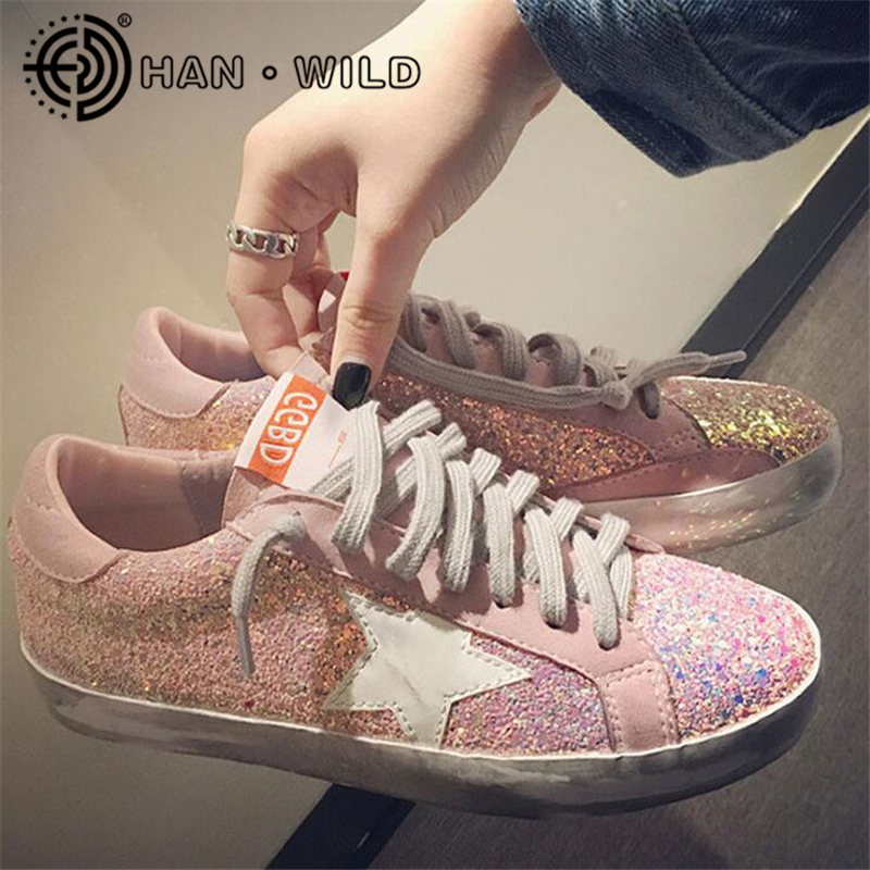2018 New Woman Glitter Star Casual Shoes Flats Spring Korean Distressed Leather  Women Lace Up Vintage Do Old Dirty Shoe 925c7bb23239