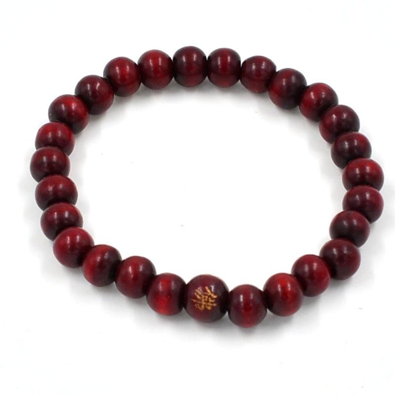 108 бусины 8 мм натуральные буддийские бусы из сандалового дерева будды деревянные молитвенные бисерные узелки черные эбеновые унисекс Мужские браслеты и браслеты для женщин - Окраска металла: 7 dark red