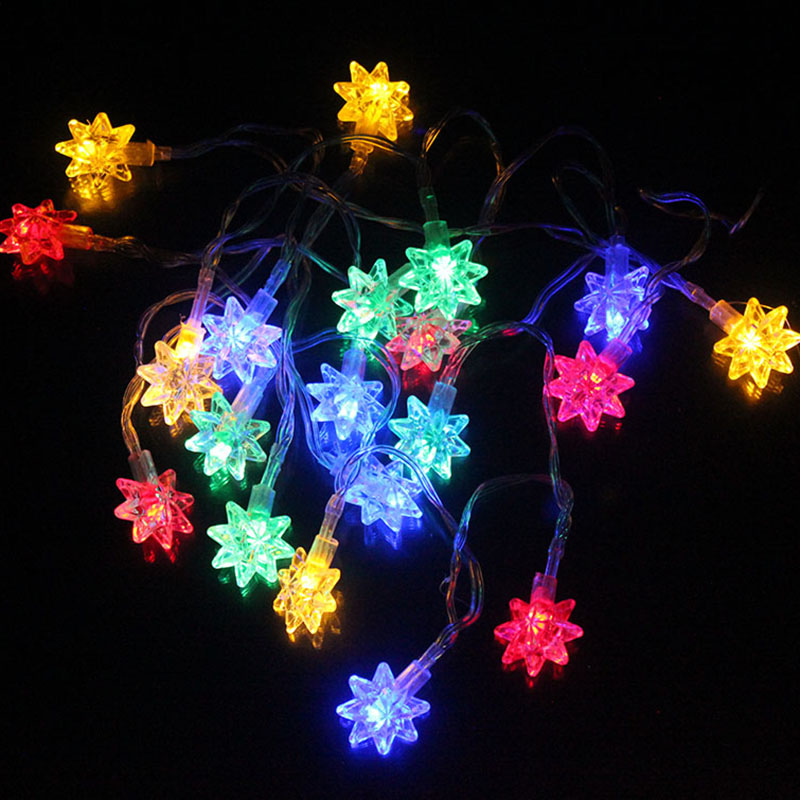 20LEDs Snowflake Christmas Fairy Lights Battery Powered LED String Lights Colorful Festival Lighting Wedding Party Decorations
