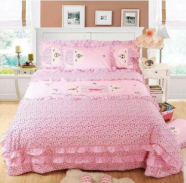 Best Quality 100% Cotton Animal Lovely Pig Queen King Size Bed Sheet Set  Cute 4pcs