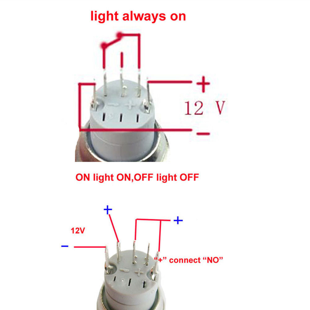 EE support 16mm 12V Red LED s HeadLights Symbol Metal Switch ON OFF Push Button Switch ee support 16mm 12v red led's headlights symbol metal switch on 6 PC LED Switch Wiring Diagram at webbmarketing.co