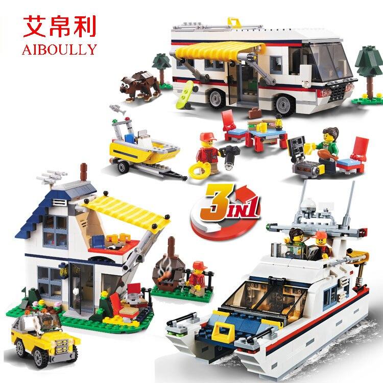 ФОТО 2017 Decool 3117 Vacation Getaways Camper Summer home Architect 3 in 1 Building Block Set 2 Mini Dolls Kids model Toys 31052