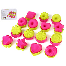 Cake Mold Easy Clean Silicone Cupcake Liners Reusable Baking Cup Nonstick Pastry Muffin Molds Round Stars Heart Flowers 15 Piece