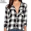 2017 Женщины Повседневная Блузка Клетчатую Рубашку Свободные Хлопок блузка Женщины Блузка С Длинным Рукавом Проверить Рубашка Досуг Черный И Белый 41