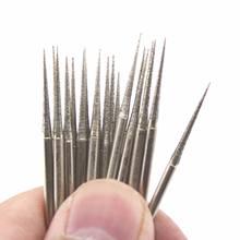 30 pçs 1.5mm diamante cabeça de moagem pontos cônicos agulha bits rebarbas revestido jóias ferramentas lapidação pedra para dremel acessórios