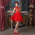 2015 new red cheongsam dress bride wedding qipao dress Vintage short Chinese dresses woman