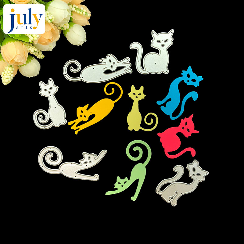 Julyarts Scrapbooking Dies Knife Mold Carbon Metal 5pcs/set Lovely Cats Cutting Stencil