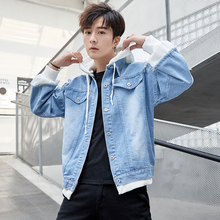 Spring New Denim Jacket Men Fashion Washed Hole Cotton Hooded Man Streetwear Hip Hop Loose Bomber S-3XL
