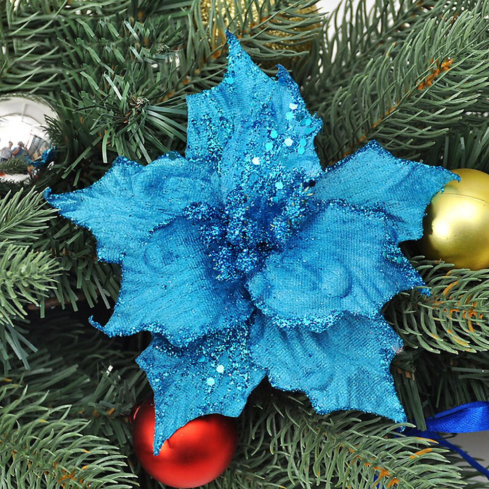 Blue and gold christmas tree decorations - 1 Pc New 13cm Christmas Artificial Flowers Gold Side Xmas Tree Decorations Wedding Party Decor Ornaments Wb206 P50 In Decorative Flowers Wreaths From Home