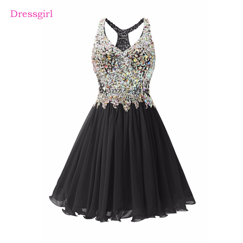 Black 2017 Elegant   Cocktail     Dresses   A-line V-neck Short Mini Beaded Crystals Open Back Homecoming   Dresses