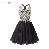 Black 2017 Elegant Cocktail Dresses A line V neck Short Mini Beaded Crystals Open Back Homecoming Dresses