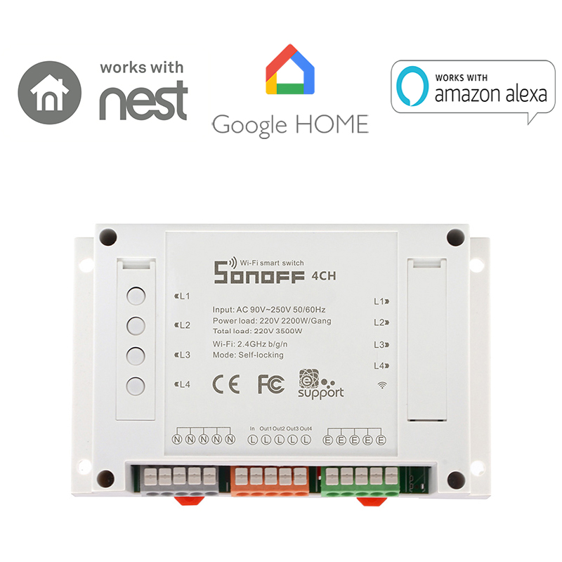 Sonoff 4CH Smart WiFi Switch 4-Gang Wireless Switches Din Rail Mounting Home Automation on/off Phone remote control 10A/2200W itead sonoff 4ch smart wifi switch 4 gang wireless switches din rail mounting home automation on off remote control 10a 2200w