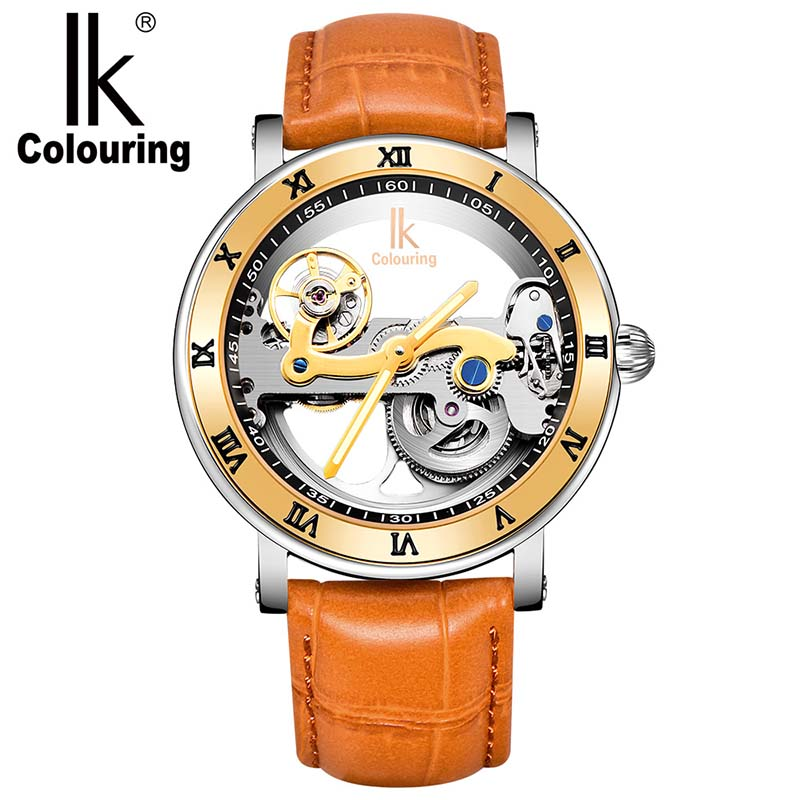 Ik Coloração Marca aço relógio mecânico automático Novo Design Double-sided oco dos homens relógio à prova d' água de Natação Relógios