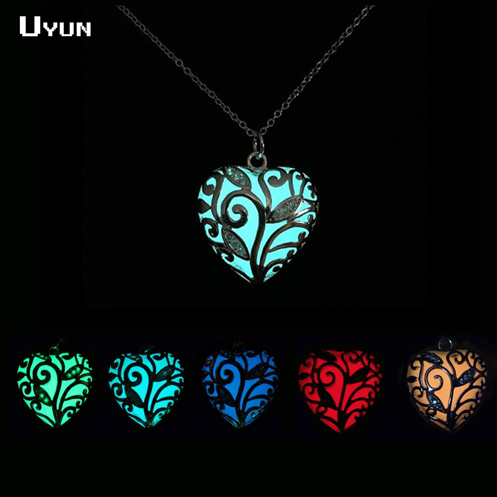 Magical Heart of Winter Forest Glow in the Dark Necklace Hollow Heart Glow Necklace Glowing Heart Locket Necklace Gifts for Her