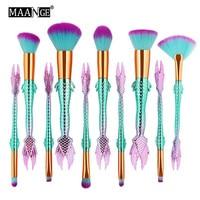 MAANGE Nova Chegada 10 Pc Sereia maquillajes parágrafos cabelo pincéis de maquiagem profissional Definida escova de mujer maquiagem pinceau de luxo