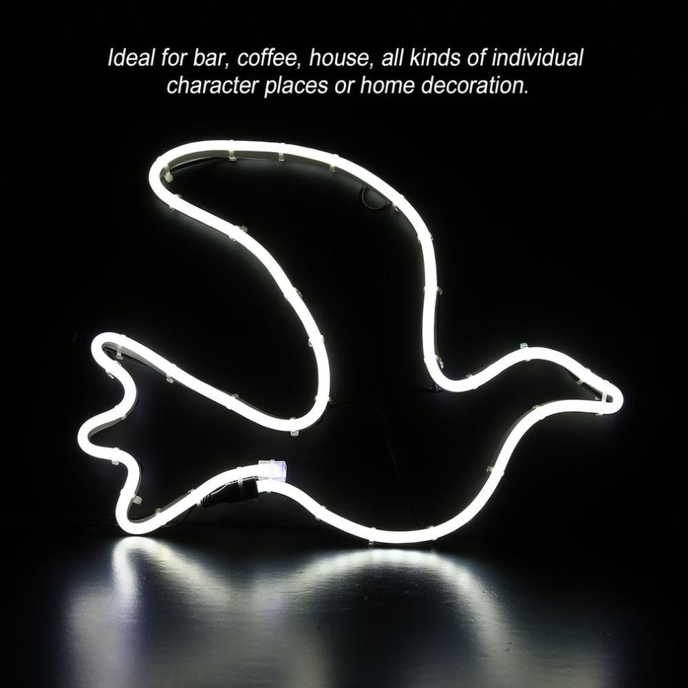 Pigeons Shape Night Light Neon Home Room Wall Decor Love Ornament Coffee Bar Mural Craft Festival Xmas