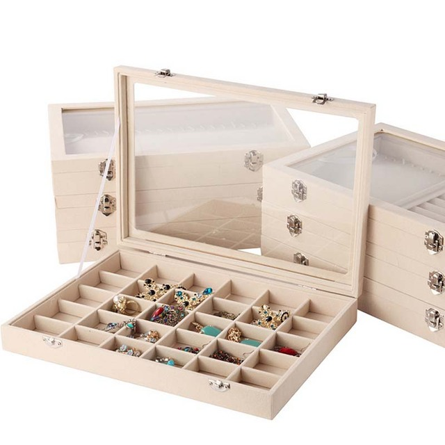 Multifunctional Linen Jewelry Display Case Storage Box Organizer