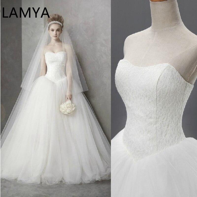 Wedding Dress 2019 Cheap Celebrity Strapless Vintage Tulle Bridal Ball Gown Organza Lace Bridal Dresses Dubai Bridal Dresses