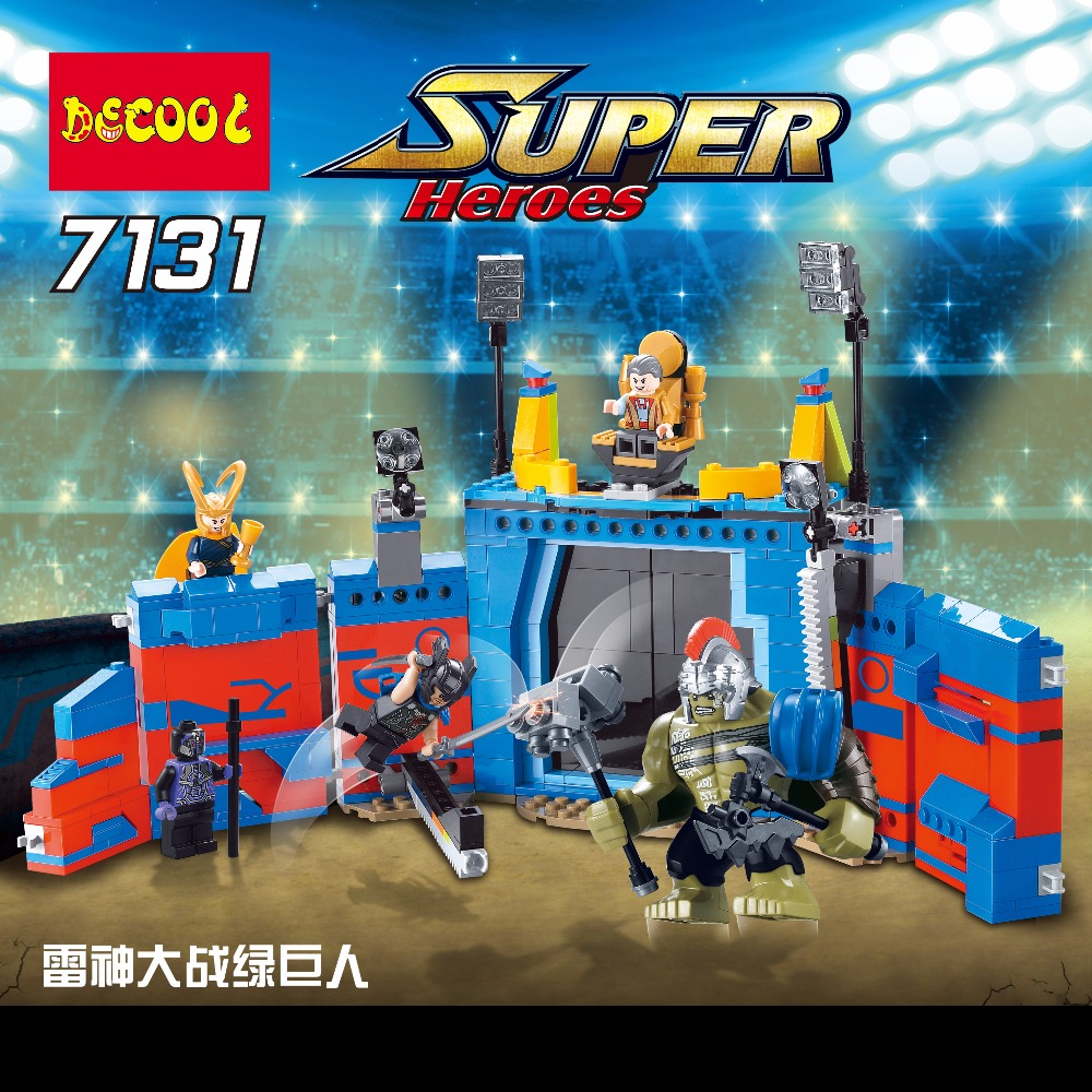 Decool 498Pcs Marvel thanos VS Hulk Ragnarok Action Figure Gift Toys Avengers Fit for Lego 76088 for minifigure superheros marvel comics deadpool vs thanos