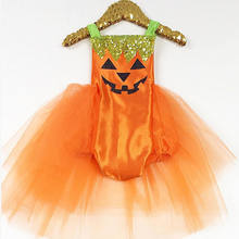 New Summer Orange Baby Girls Kids Romper Jumpsuit Tutu Dress Party Clothes Outfits Cloth Belt Sleeveless Romper Size 0-24M(China)