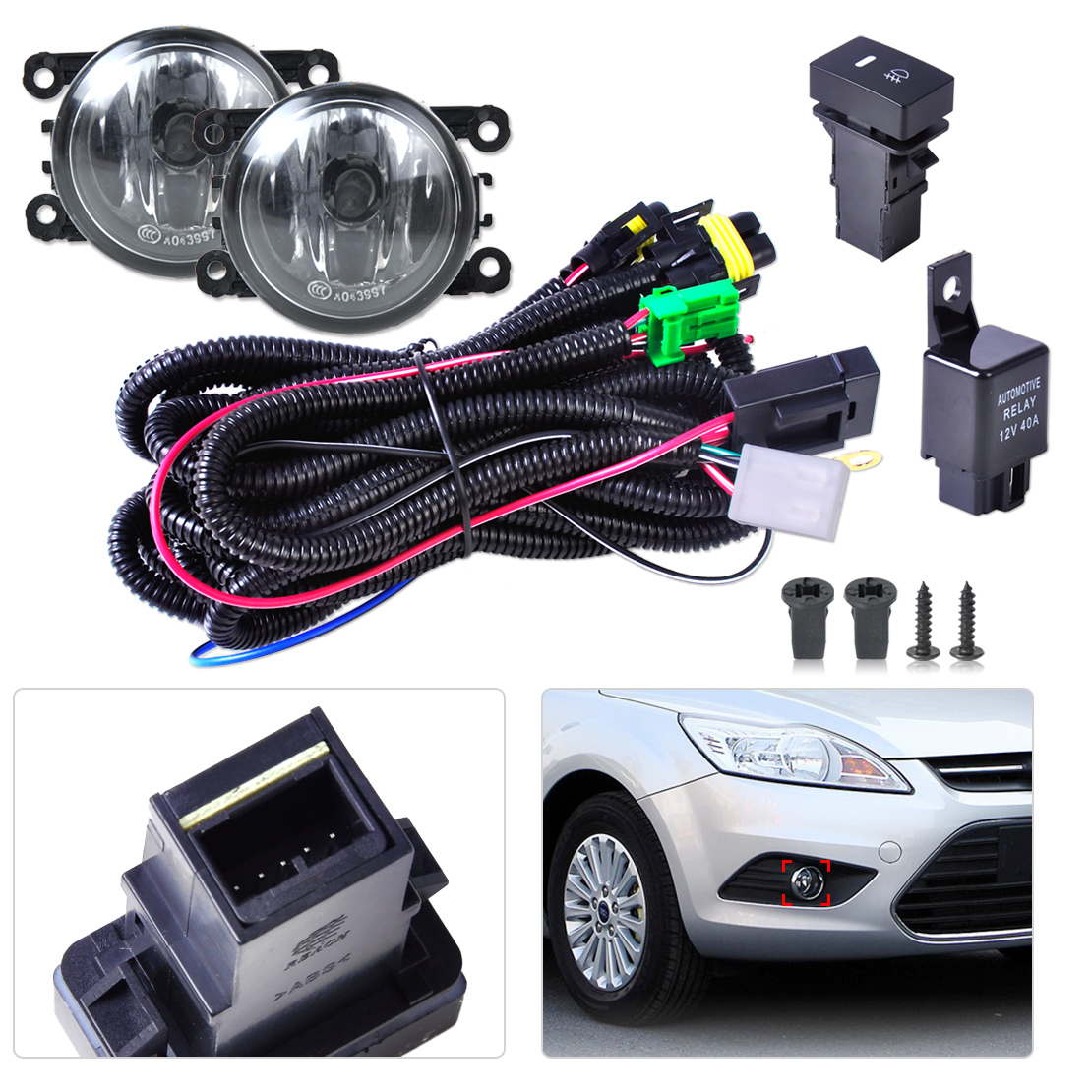 ФОТО Black New Wiring Harness Sockets + Switch + 2 Fog Lights H11 Lamp 12V 55W Kit for Ford Mustang Lincoln Navigator Subaru Outback