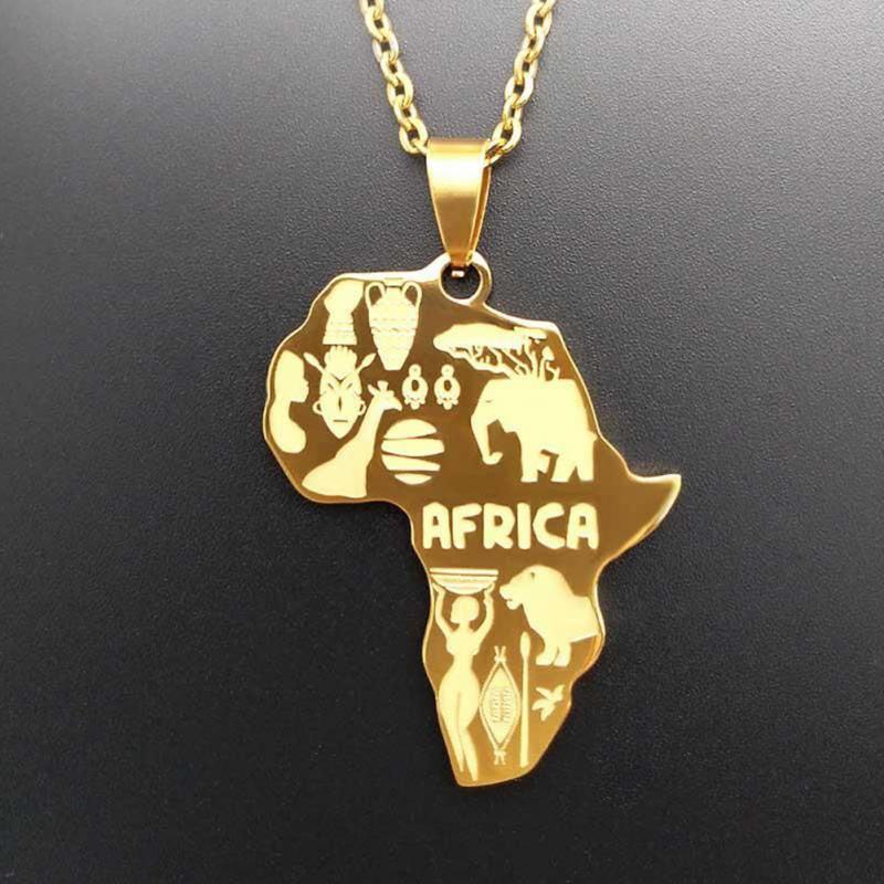 4 цвета Африка Карта Подвеска Цепочки и ожерелья для Для женщин/Для мужчин Эфиопии ювелирных изделий африканские Карты хип-хоп Цепочки и ожерелья поставки - Окраска металла: Золотой цвет